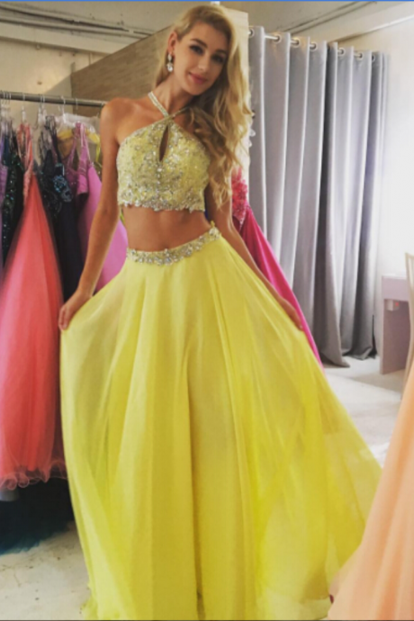 Prom Dress, Yellow Daffodil Haltered Front Key Hole Two Piece Beaded Prom Dresses 2017