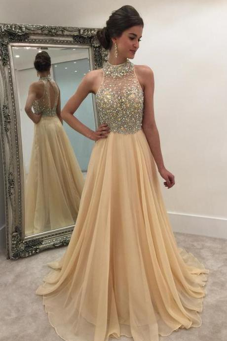 crystal beaded halter illusion back long champagne organza prom dresses 2017 sexy