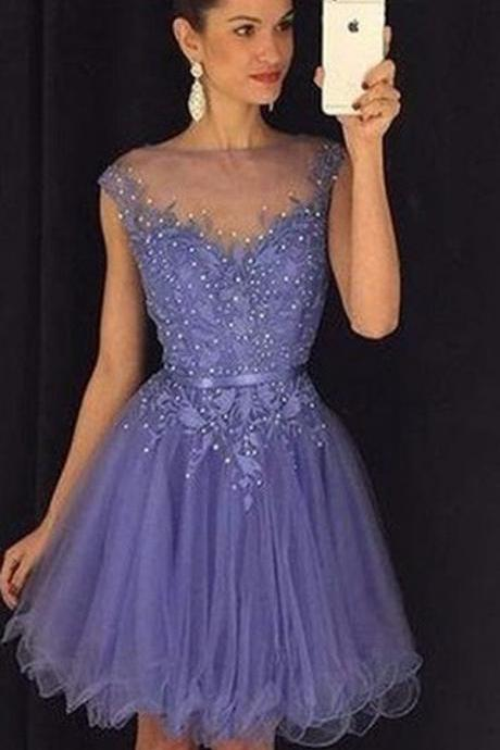 Sexy Homecoming Dress,Appliques Homecoming Dress,O-Neck Homecoming Dress,Short Prom Dress