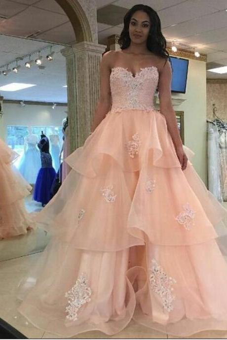 Prom Dresses,Evening Dress,Party Dresses,Pretty Pink Lace Prom Dresses,Girly Prom Gowns,Quinceanera Dresses,Prom Dresses For Teens,Long Prom Dress,Party Dresses