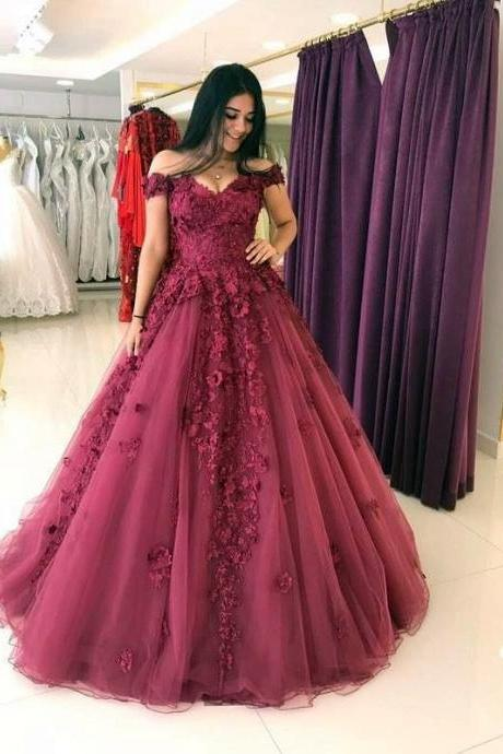 Cheap prom dresses 2017, Lace Appliques Prom Dresses Ball Gowns,Tulle Quinceanera Dress,Off Shoulder Evening Gowns