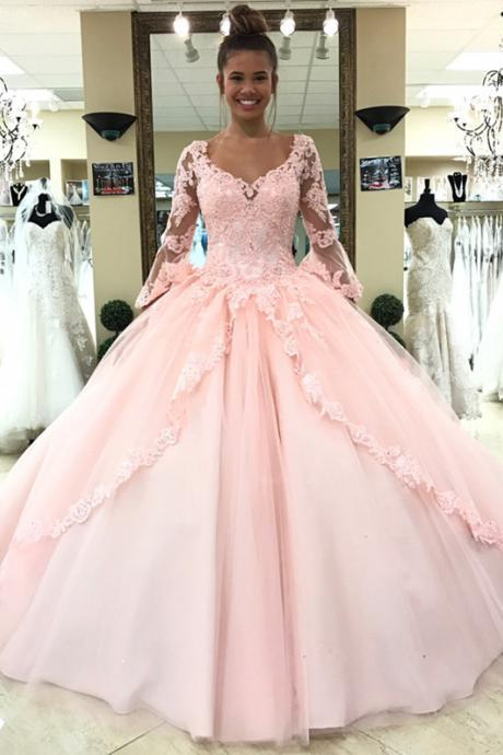 Cheap prom dresses 2017, Pink Quinceanera Dress,Long Sleeves Quinceanera Dress,Sweet 16 Dress,Ball Gowns Prom Dresses