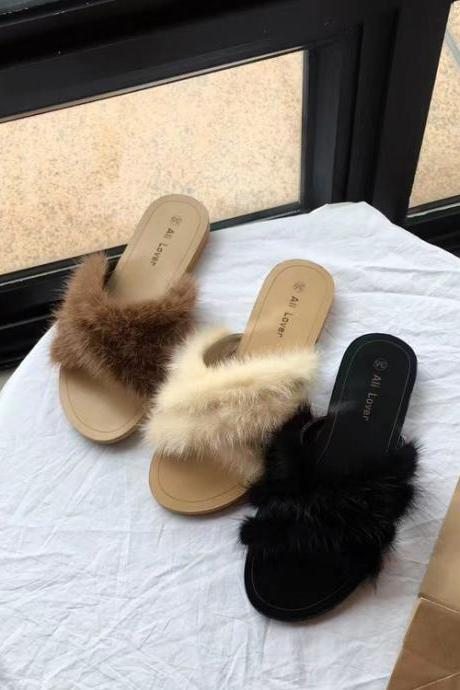 Womens Ladies Slip On Sliders Flat Fur Slippers Summer Mules Flip Flop Shoe Size