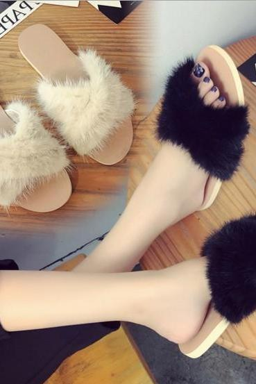 Crisscross Fur Open-Toe Sliders Flip-Flop Sandals