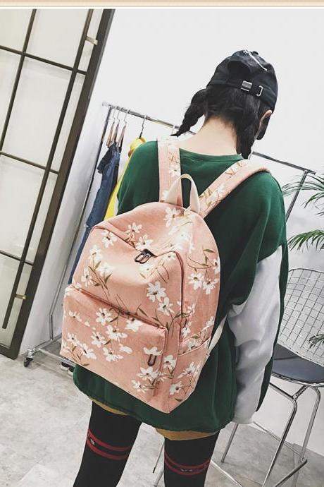 Pink Floral Print Student and Travel Canvas Backpack