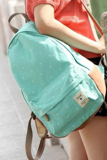Mint Green Polka Dots Backpack