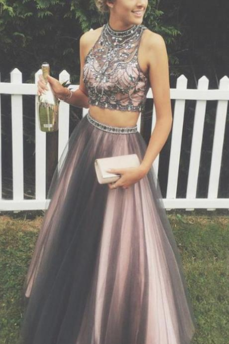 Two Pieces Prom Dress,Long Prom Dresses,Beading Patterns Prom Dresses,Evening Dress, Prom Gowns Formal
