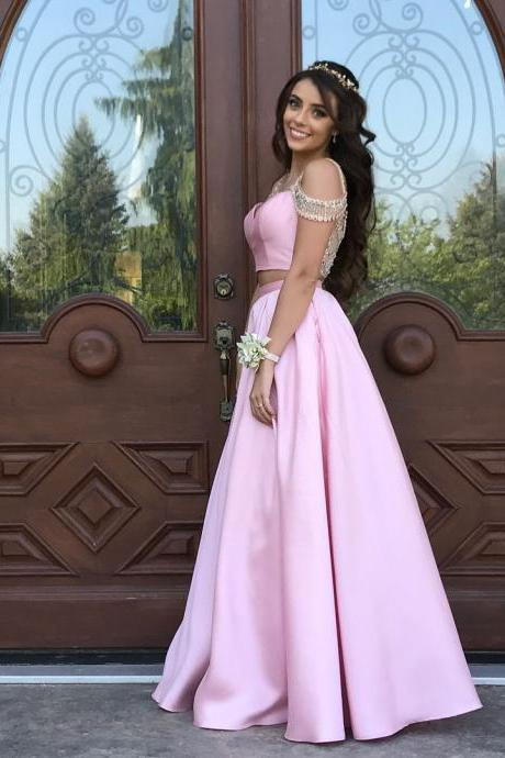 Cheap prom dresses 2018,2018 Sexy Pink Satin Prom Dresses Long A Line Short Sleeve 2 Piece Evening Formal