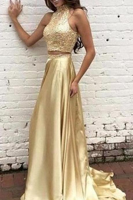 Two Pieces Prom Dress,Gold Beaded Graduation Dresses,2 piece Prom Gowns,Sparkle Party Dresses,Gold Beaded Prom Gowns,Two Pieces Formal Dress,Gold Evening Dress