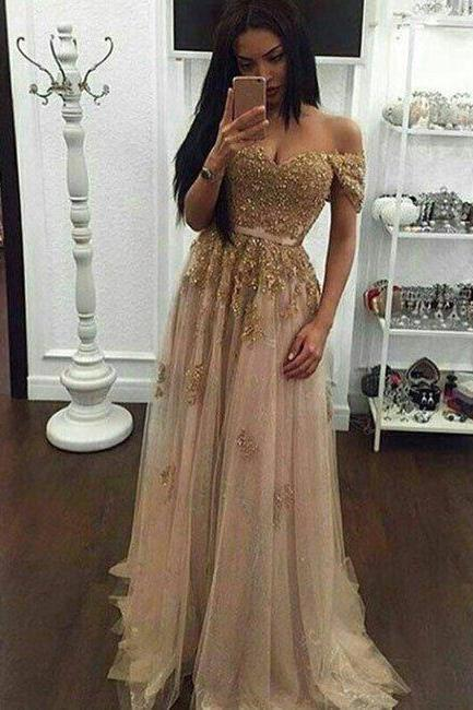 New Arrival gold sequin lace off shoulder tulle long prom dress, evening dress