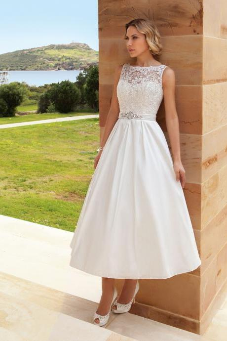Bateau Sleeveless Lace Appliqués Satin Tea-Length Wedding Dress, Bridal Gown
