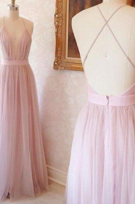 New Arrival pink v neck tulle long prom dress, evening dress
