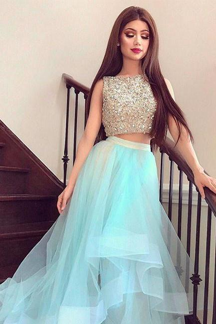 Cute Two Pieces Tulle Sequin Long Prom Formal Dresses