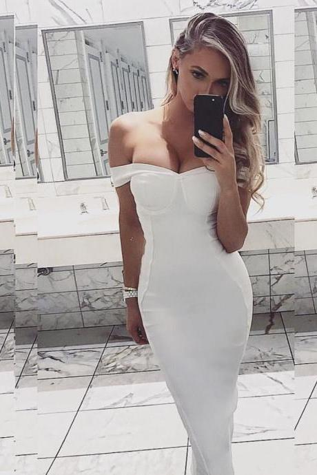 White Prom Dress,Off The Shoulder Prom Dress,Fashion Prom Dress,Sexy Party Dress, Custom Made Evening Dress