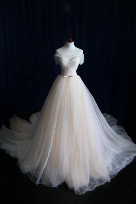 Off-the-Shoulder Ruched Ball Gown Wedding Dress with Long Train
