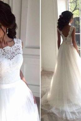 Wedding Dress,Sleeveless tulle Wedding Dresses,white A Line Wedding Gowns,Elegant Bridal Dress,High Quality Bridal Dresses,Wedding Guest Prom Gowns, Formal Occasion Dresses,Formal Dress