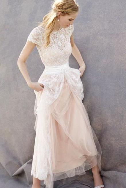 Blush Pink Sheer Lace Appliqués Tulle A-line Wedding Dress with Cap Sleeves
