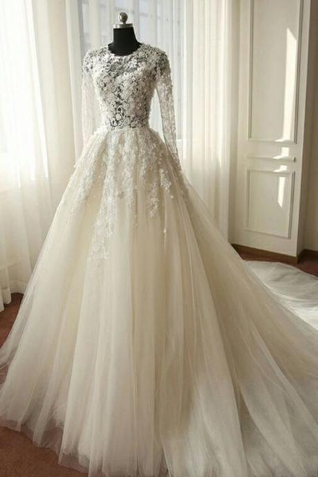 White chiffon lace long sleeves see-through A-line long dresses,wedding dresses