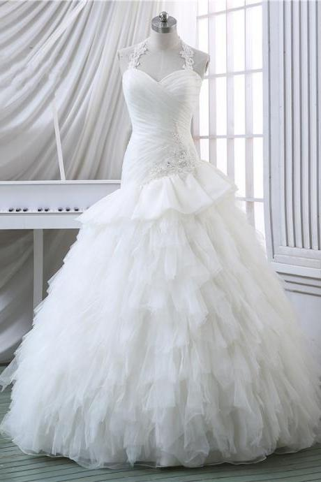 Ruched Sweetheart Lace Halter Straps Floor Length Ruffled Organza Mermaid Wedding Dress Featuring Lace-Up Back