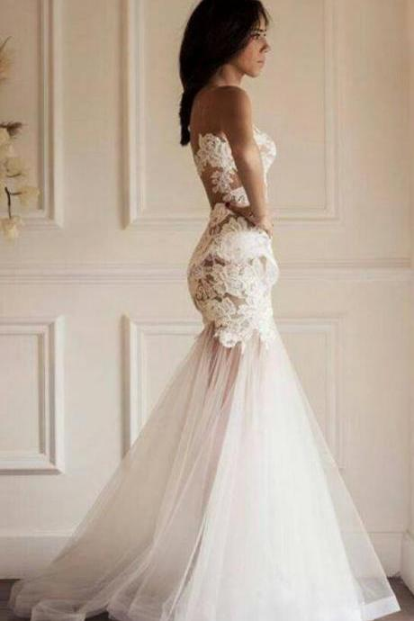 Sheer Sleeveless Floral Lace Appliques Mermaid Wedding Dress