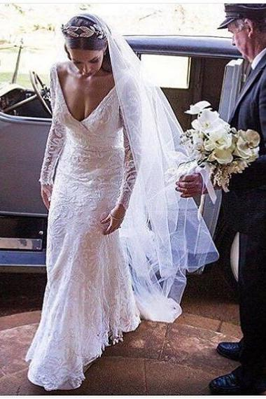 Mermaid Wedding Dress Deep V-neck Lace Long Wedding Dresses Bridal Dress Wedding Gown