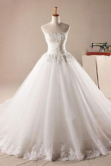 Long Bridal Gowns , Tulle Wedding Dress, Lace Wedding Dress, Sweet Heart Bridal Dress