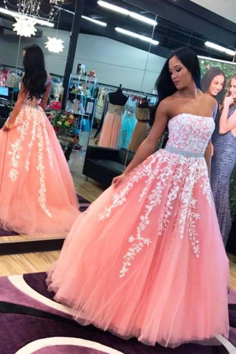Strapless Formal Dress with Lace