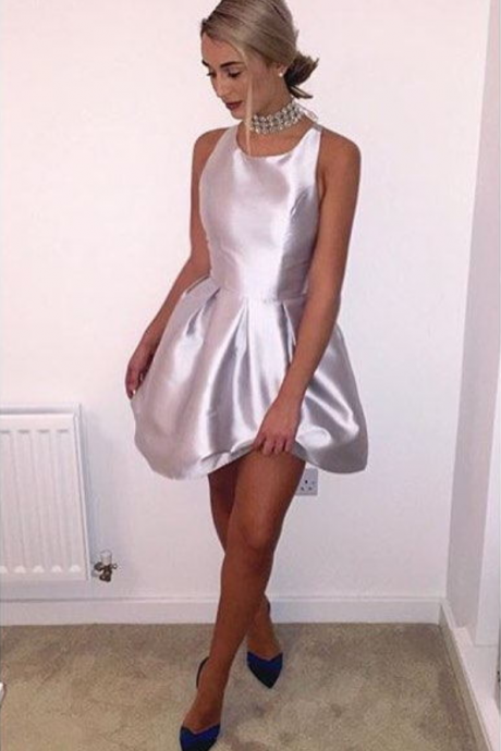 Silver Satin Mini Prom Dresses ,Box Pleats Backless Party Ball Gown,Homecoming Dress
