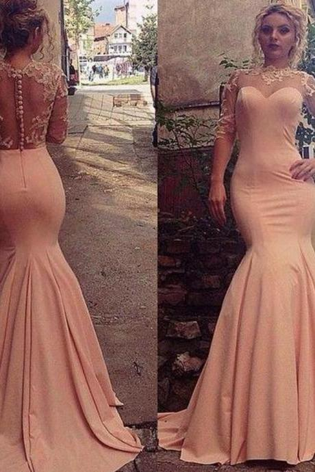 Stunning Formal Dress pink prom gowns long evening gowns for teens