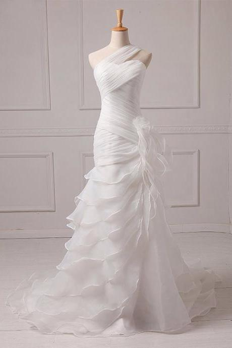 Organza Wedding Dress, Mermaid Bridal Dress, One-Shoulder Wedding Dress, Pleat Wedding Dress, Wedding Dress with Court Train