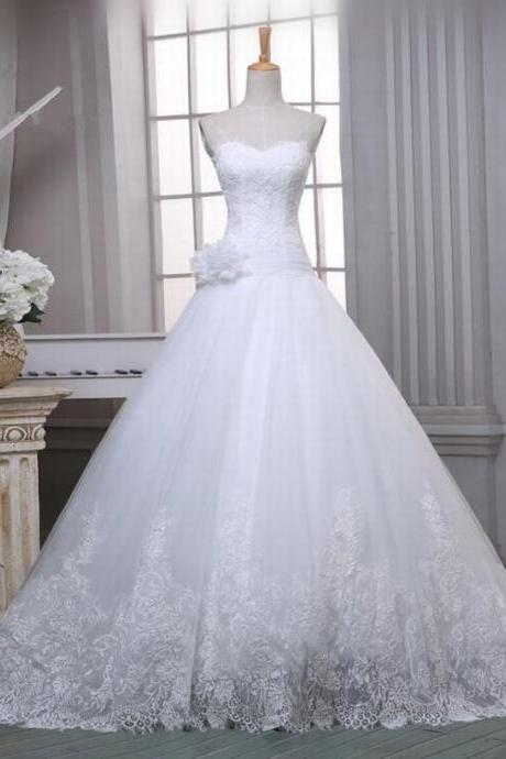 Sleeveless Strapless Sweetheart A-Line Lace Wedding Dress Bridal Gown