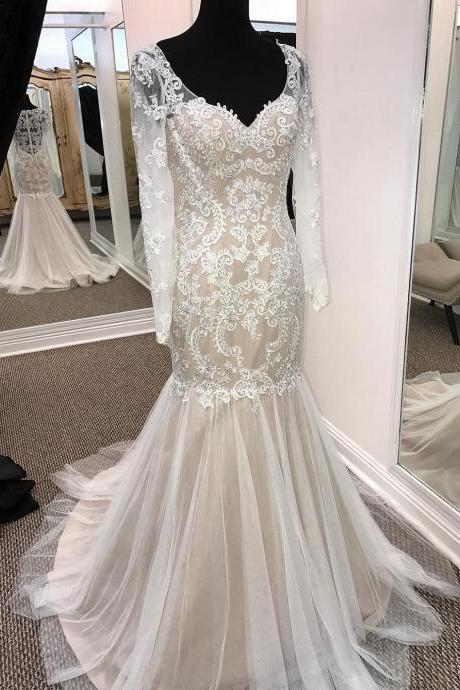 Sheath V-neck Long Sleeve Wedding Dresses Summer Appliqued Dresses