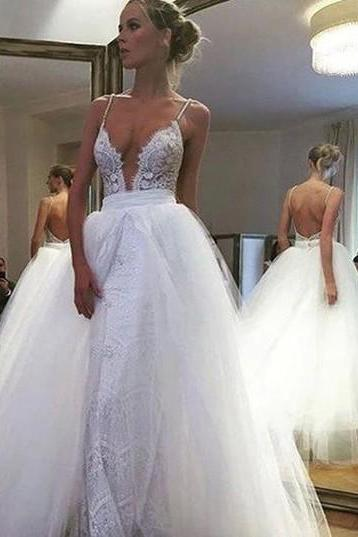 Sexy Deep V-neck Floor-Length Wedding Dress Backless with Lace