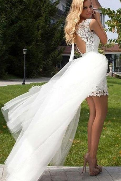 Open Back Short Lace Wedding Dress with Detachable Skirt Wedding Reception Dress