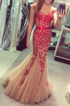 Mermaid Prom Dress,Long Prom Dresses,Formal Evening Dress,Appliques Evening Gown