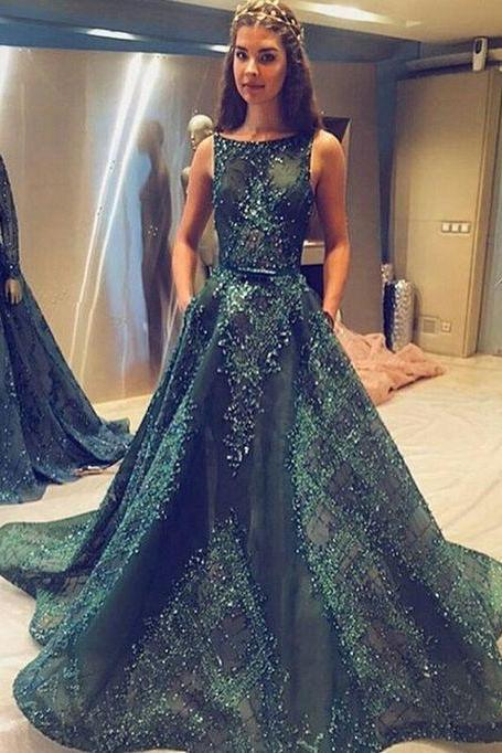 Ball Gown Prom Dresse,Princess Prom Dresses, Long Prom Dress, Tulle Evening Dress,Hunter Green Evening Dresses, Long Formal Dresses
