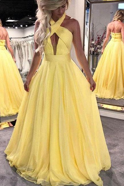 Open Back Yellow A-line Tulle Prom Dresses