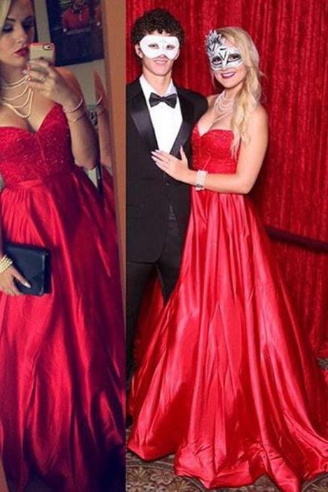 Charming Prom Dress,Sexy Prom Dress,Red Sweetheart Backless Prom Dresses,Long Evening Dress,Formal Evening Gowns