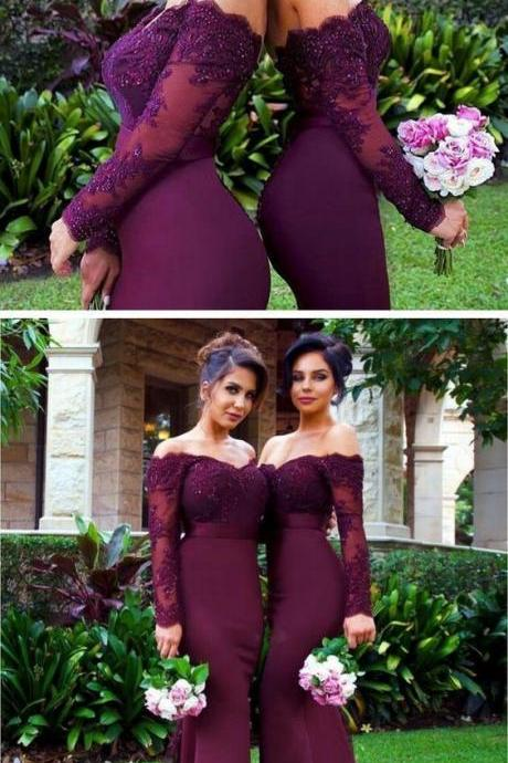 purple prom dress,purple bridesmaid dress,mermaid evening dresses,sexy long prom dress