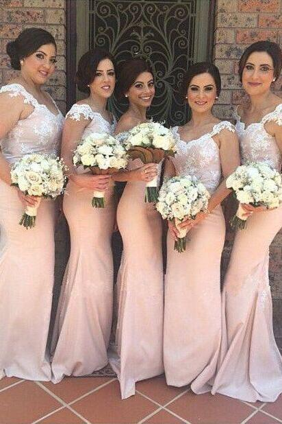 Lace Bridesmaid Dress,Long Bridesmaid Gown,Pink Bridesmaid Gowns,Mermaid Bridesmaid Dresses,White Lace Bridesmaid Gowns,2016 Bridesmaid Dress,Vinatge Bridesmaid Gowns