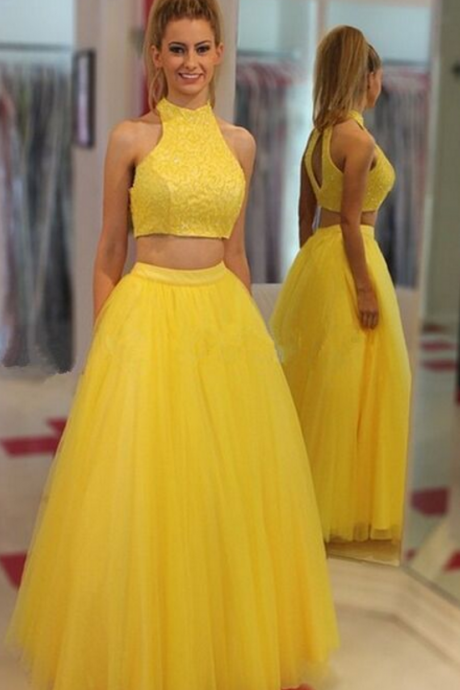 Gorgeous yellow two party dresses, high neck ball gown