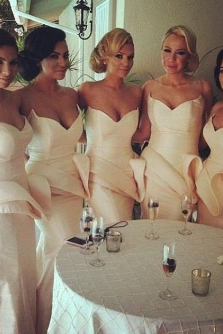 Custom Made Champagne Sweetheart Neckline Satin Mermaid Bridesmaid Dress with Peplum Detailing