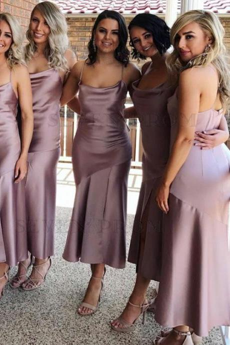 Mermaid Bridesmaid Dress,Spaghetti Straps Bridesmaid Dresses,Sleeveless Bridesmaid Dress,Stretch Satin Bridesmaid Dress,Sexy Bridesmaid Dresses