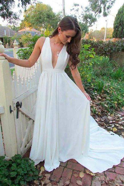 White Deep V Neck Long Prom Dress,Sleeveless Formal Dresses,Simple White Evening Dress
