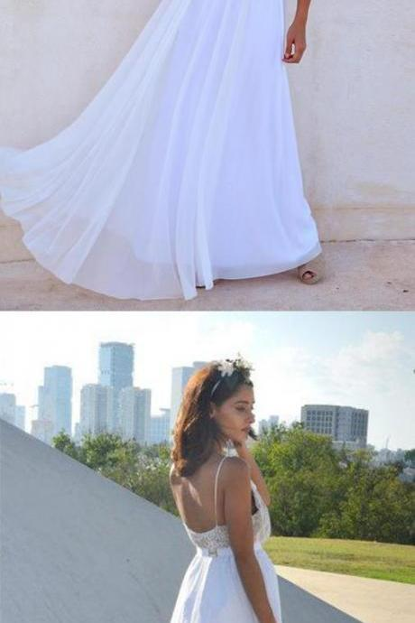 Modest A-line Long Straps White Cheap Beach Wedding Dress Prom Dress
