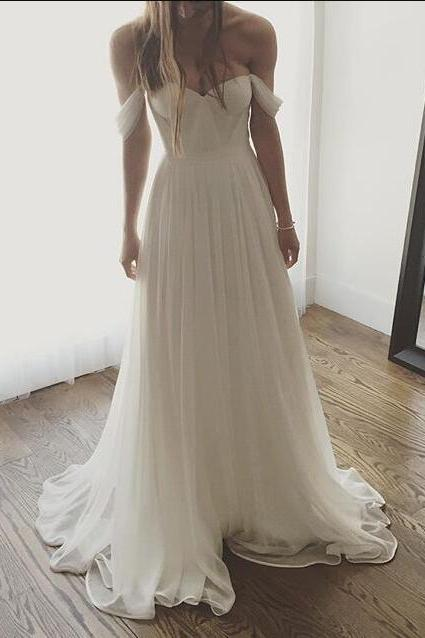 Chiffon Off-The-Shoulder Sweetheart Floor Length A-Line Beach Wedding Dress, Summer Wedding Dress