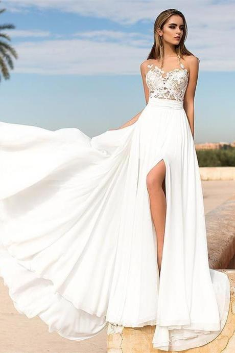 Wedding Dress,Wedding Dresses,Beach Wedding Dresses,Summer Wedding Dresses,High Splits Wedding Dresses,Lace Wedding Dresses,Sheer Neck Wedding Dresses