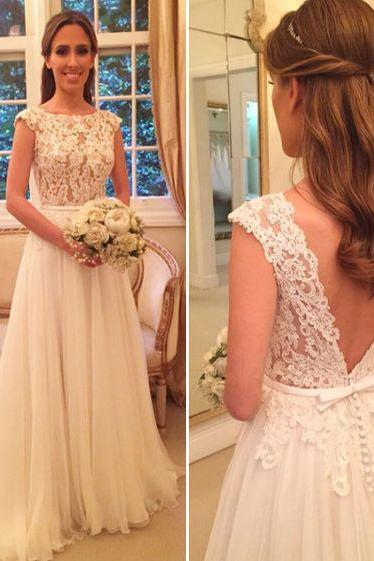 Custom Made White Sleeveless Lace A-Line Tulle Wedding Dress with Button Back Detailing