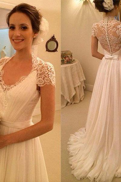 Wedding Dress,Wedding Dresses,Beach Wedding Dresses,Summer Wedding Dresses,Short Sleeve Wedding Dresses,Lace Chiffon Wedding Dresses
