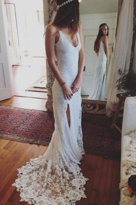 Custom Made White Scoop Neckline Lace Long Open Back Wedding Dress with High Split